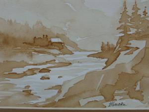 Coffee painting landscape